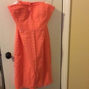 J. Crew coral eyelet strapless dress